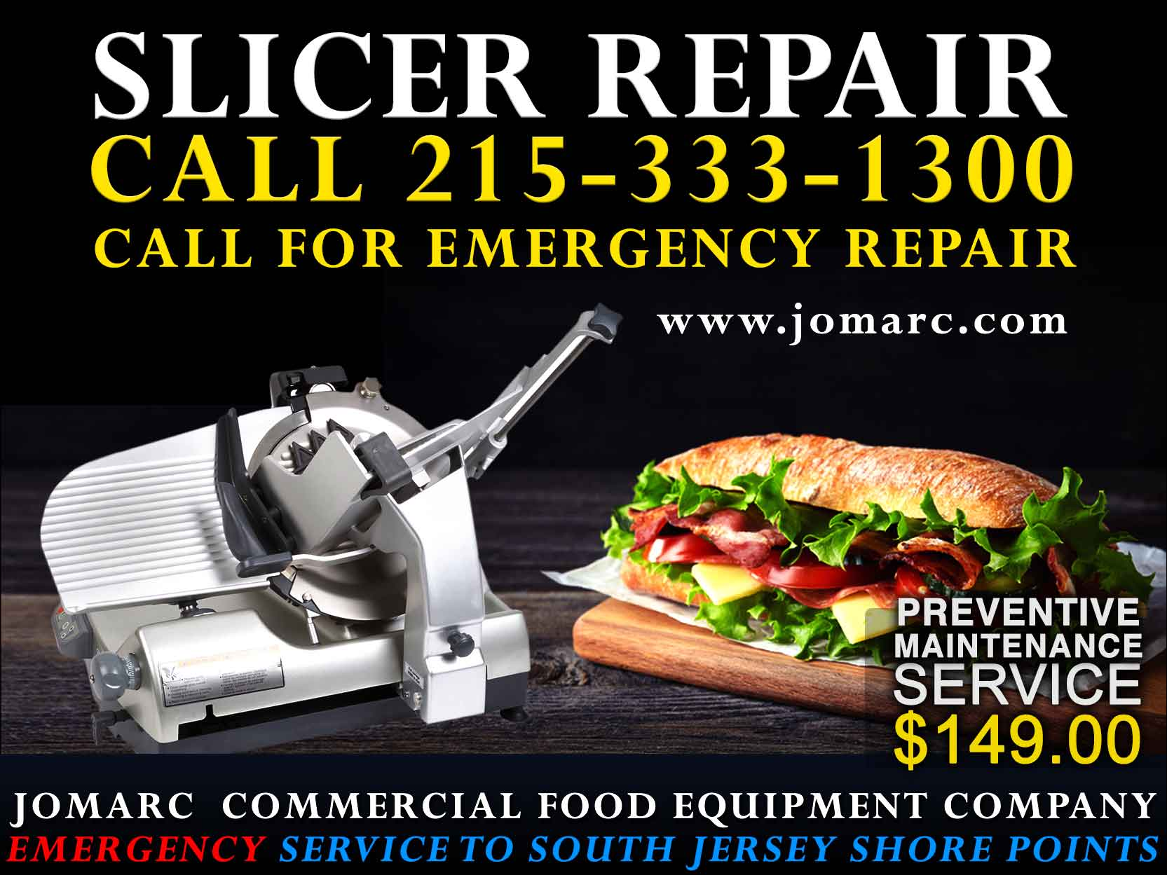 Jomarc services all brands and types of slicers. We sell used Hobart slicers. Preventative maintence is required to keep the investment you made in a commercial slider to continue to operate at maximum efficiency, your business cannot afford to have your slicer working below capacity. If you feel that your slicer is not operating at maximum efficiency, call Jomarc for our preventative Maintenance Service for light duty, medium duty and heavty dutery slicers.   Don't Wait Until your slicer breaks! We Offer PREVENTIVE MAINTENANCE SERVICE FOR COMMERICAL SLICERS for $149.00